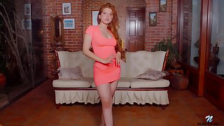 Alluring redhead babe Angelina Praga gets uncloudy be incumbent on dress to go exclusively