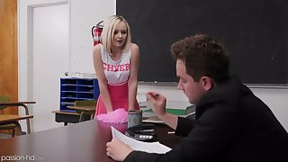 Naughty pupil in cute pink lucubrate Natalia Queen spreads legs on the table for mating