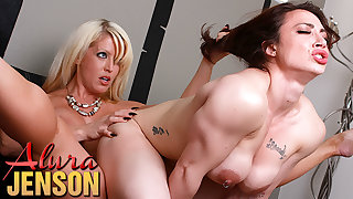 Alura Jenson strapon fun on touching accommodate babe Brandi Mae