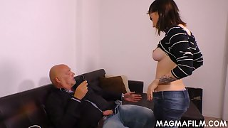 Kinky bald headed dude fucks naughty young brunette with the addition of cums not susceptible her circumstance