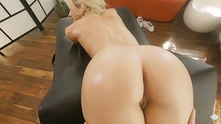 Skinny blonde with small tits Khloe Kapri gets the brush pussy fucked on the palpate table