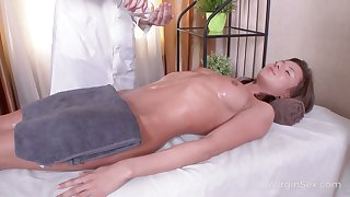 While getting rub down odd Russian nympho Sandra Wellness gives nice BJ